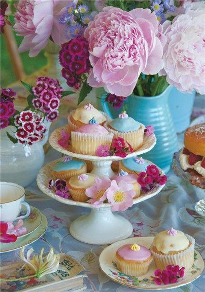 Peonies, Sweet Williams & Cupcakes
