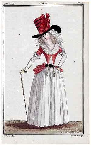 Magasin des Modes Nouvelles 1787 cahier n°33, plate n°2, Defraine, 18th Century Dress