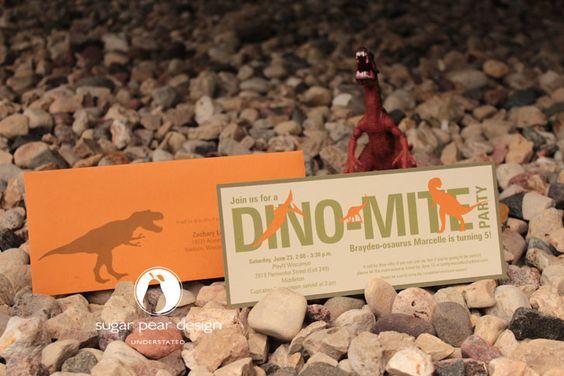 dinosaur birthday party invitations | www.sugarpeardesign.com | © 2012 Sugar Pear Design LLC