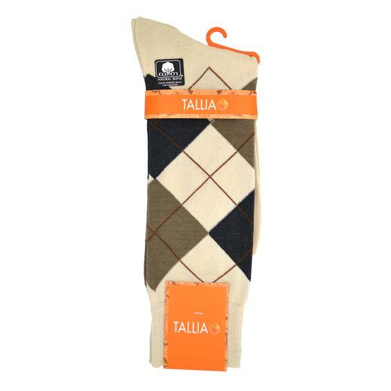Tallia Orange Argyle Sock in Cream/Brown