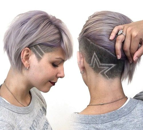 short bob with asymmetrical undercut. Love everything but the designs.