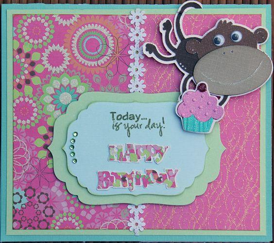 Monkey Cupcake Card