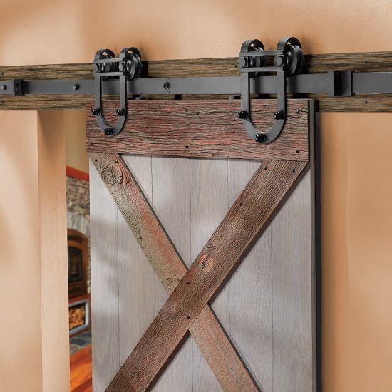I Semble Rolling Door Hardware Kit Horseshoe Black Barn Door