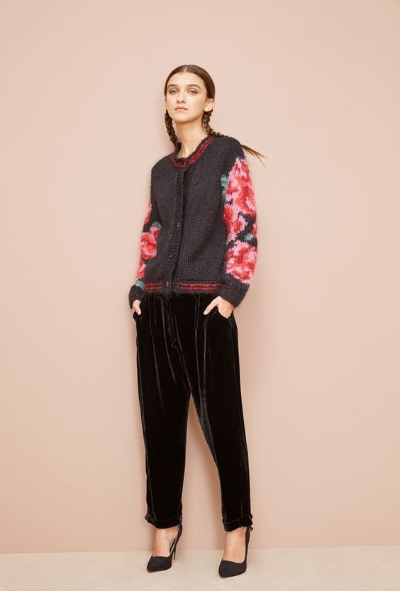 Mes Demoiselles... Paris Reseda fall winter collection knitted sweater knit flower print pattern