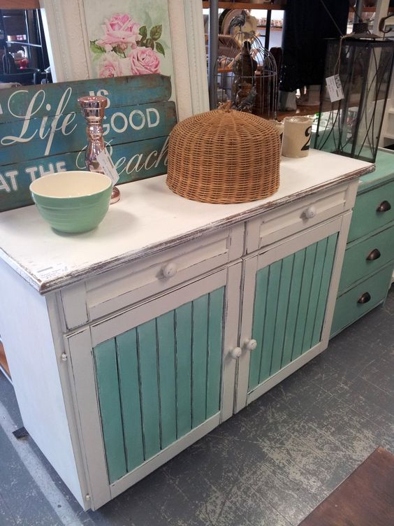 beautiful beach house sideboard on castors two drawers with shelving underneath beachy furniture