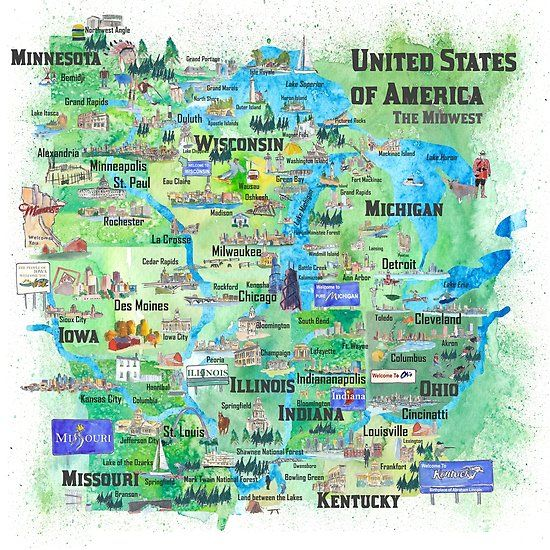 United States of America - The Midwest Map\' Poster by ...
