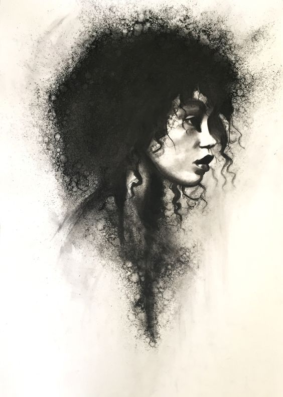 Black Women Art! – stoekenbroek:   Torn, Charcoal drawing on paper