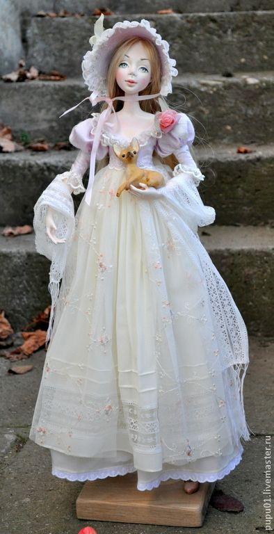 Купить Авторская кукла Юлия - бледно-розовый, барышня, кукла ручной работы, кукла интерьерная