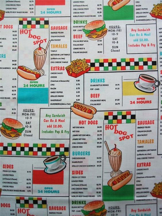 Arnolds Diner Menu Retro Drive in Kanvas by AliceInStitchesArts