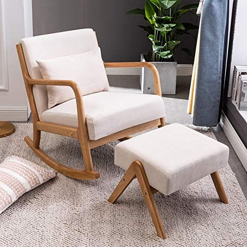 Nordic Style Rocking Chair Zero Gravity Lounge Chair Solid Wood Frame Rocker Relax Chair For Living Room Bedroom Balcony In 2020 Relaxing Chair Rocking Chair Chair