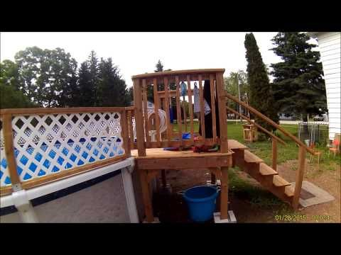 Home made Pool Fence 27 foot above ground - YouTube