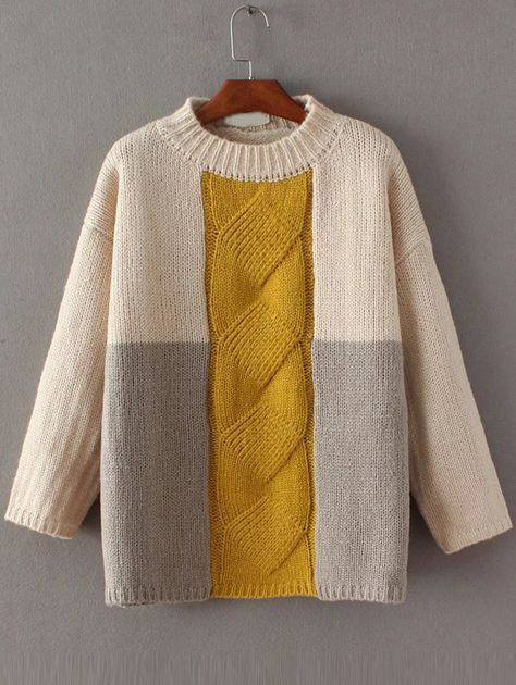 Color Block Cable Knit Drop Shoulder Sweater -SheIn(abaday)