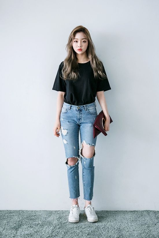 2a507c3b0550f Put on a pair of fishnet tights before wearing your ripped jeans.