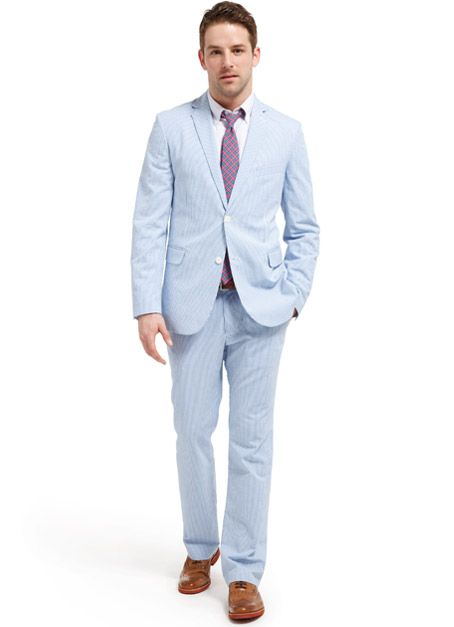 Blue and white seersucker suit, The River Street Suit, by Bonobs $410