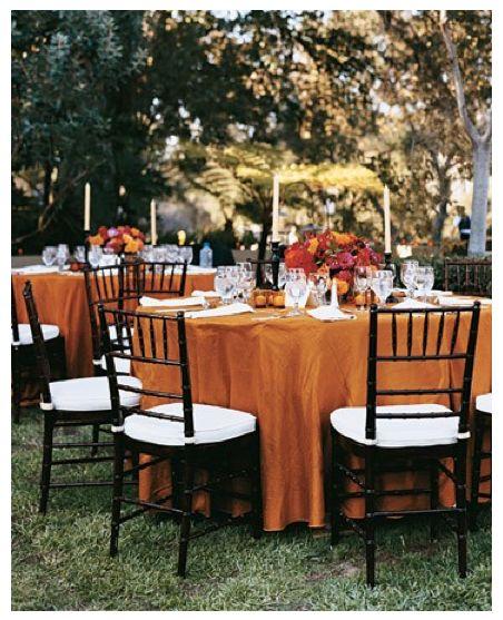 Fall Wedding Reception Decor I Like The Orange Tablecloth