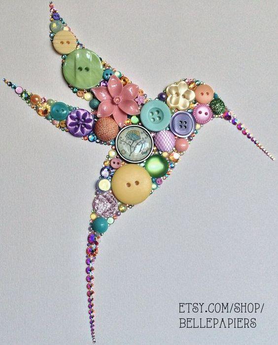 Cuadro de pajaro con botones manualidades pinterest - Cuadros con botones ...