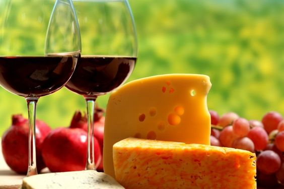 Cheese-Grapes- Pomegranate-Cheese and Wine