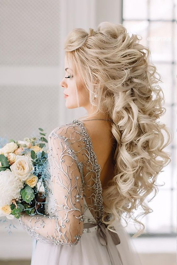 Perfect Combinations Of Wedding Hairstyles And Bridal Dresses ❤ See more: http://www.weddingforward.com/wedding-hairstyles-bridal-dresses/ #weddings