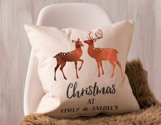 Add a dash of copper to your home this Christmas with this stunning personalised Christmas cushion. The perfect gift for couples.