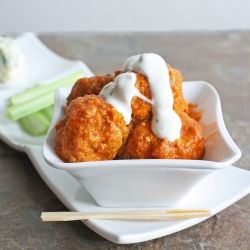 Just in time for football - Buffalo chicken meatballs. Yum!!