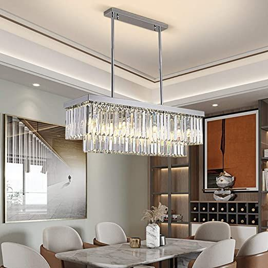 Luxury Style Modern Minimalist Luxury Silver Rectangular Chandelier Led Bedroom Living Room Dining Room Bar In 2020 Dining Room Bar Ceiling Lamp Crystal Ceiling