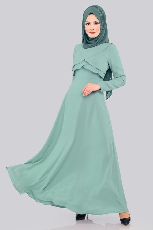 Modaselvim Elbise Kruvaze Detay Elbise 558 L263 S Mint Fashion Abaya Hijab
