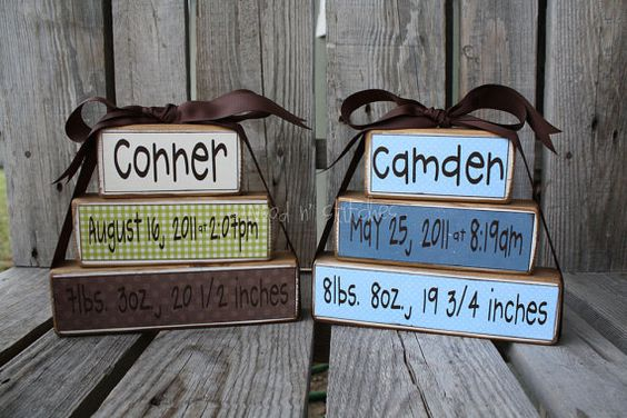 Cute baby gifts!  Print on 8 1/2 x 11 scrapbook paper, cut to size and modge podge to wood blocks. Easy Peasy!