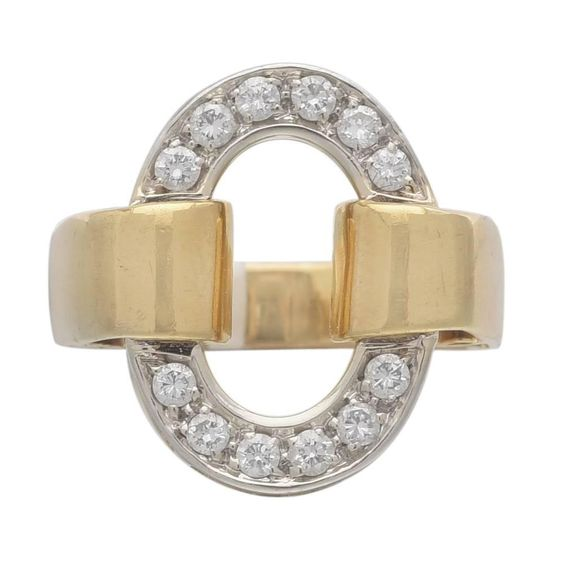 Gold and Diamond Oval Motif Ring | From a unique collection of vintage cocktail rings at https://www.1stdibs.com/jewelry/rings/cocktail-rings/