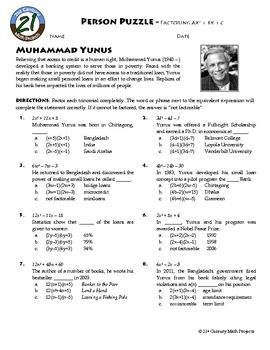 Worksheet Factoring Ax2 Bx C Worksheet person puzzle factoring ax2 bx c muhammad yunus algebra yunus