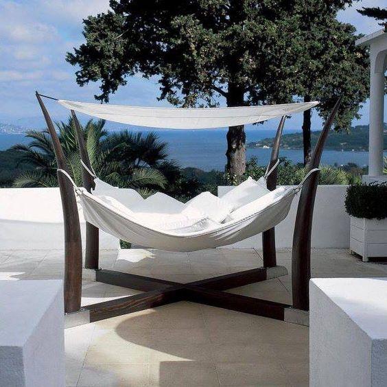 in den garten damit freistehende h ngematte lifestyle pinterest. Black Bedroom Furniture Sets. Home Design Ideas