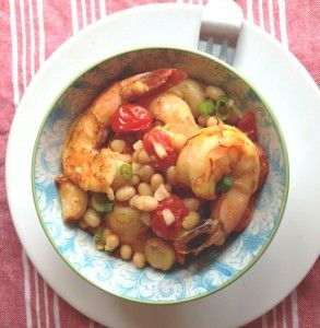 Shrimp with Roasted Tomatoes and White Beans