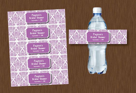 Instant DOWNLOAD purple lavender lilac Damask Water Bottle Labels Printable Bridal Shower Wedding Birthday Party Favor Personalized on Etsy, $5.99