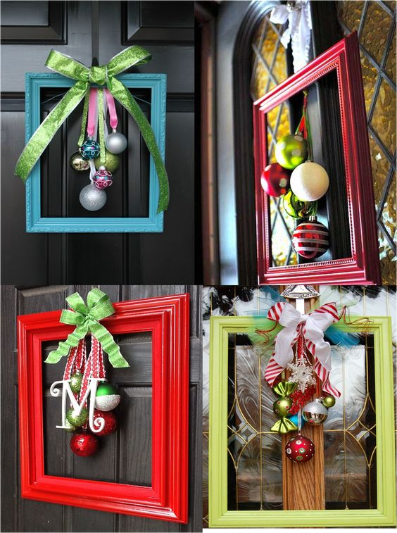 Elegant and unusual door decorations made from picture frames, ribbons and baubles.: