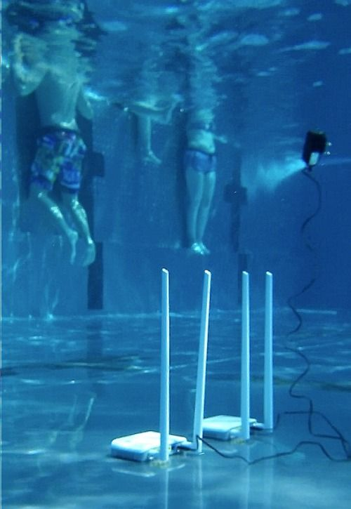 Lan router under water, 2014 -installation at public swimming pool