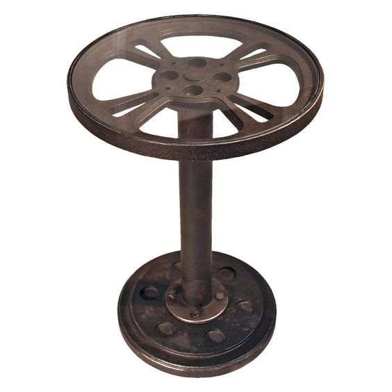 Design Toscano Industrial Cinema Film Reel Accent Table   MHZ108