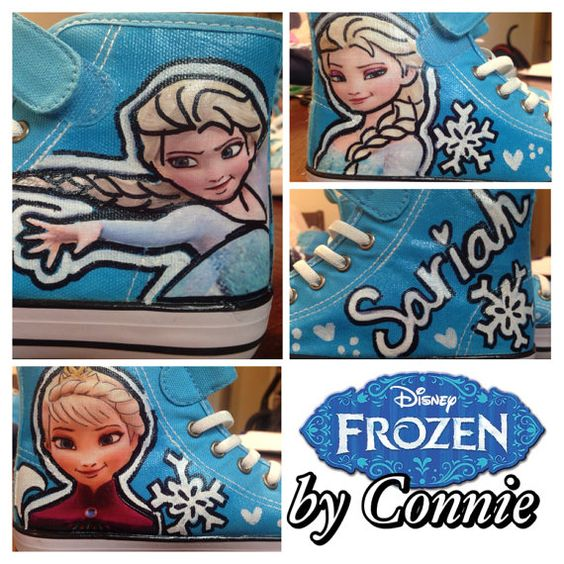 Frozen Anna and Elsa Blue Sneakers by ConniesCustomDesigns on Etsy