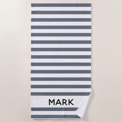 Gray And White Striped Personalized Beach Towel Zazzle Com