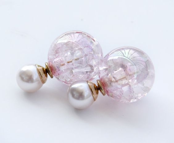 Double Pearl Sided earrings,Double Sided earrings,Shining Pink Front Back Earrings