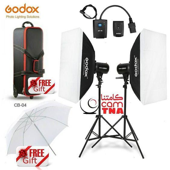 طقم استديو المطور والمتكامل من شركة قودوكس مع هديتين Godox Studio Flash Kit 600w 2x 300w بقوة 600 واط مع ضمان سنت Lighting Solutions Photo Lighting Gifts