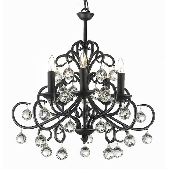 Gallery Wrought Iron and Crystal 5-Light Chandelier - BedBathandBeyond.com