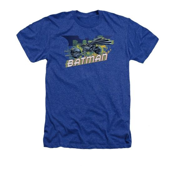 Batman Dark Knight Rises - Wheels On Fire Adult Regular Fit Heather T-Shirt