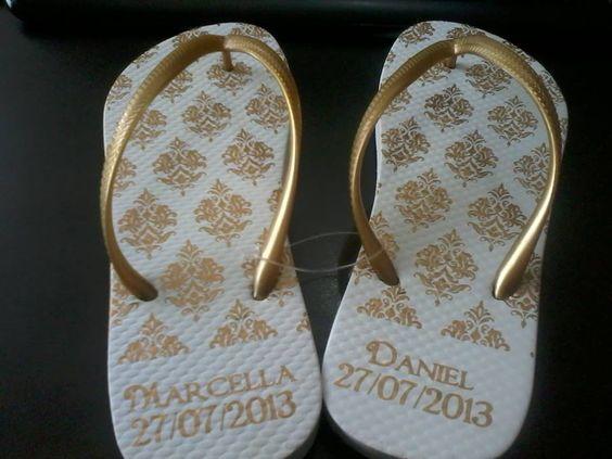 Chinelo Personalizado - Casamento Marcela e Daniel