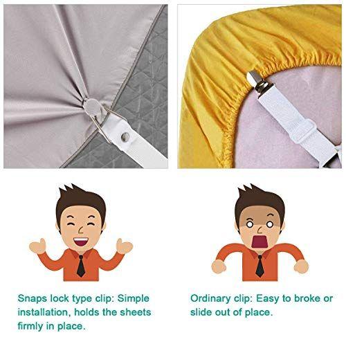 Set of 4 Bed Sheet Fastener Suspenders Holder Straps Adjustable Fitted Clips