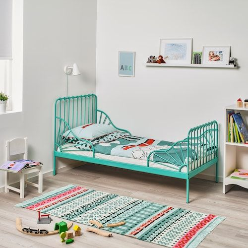 Minnen Ext Bed Frame With Slatted Bed Base Turquoise 38 1 4x74 3 4 Ikea In 2020 Bed Frame Bed Base Bed