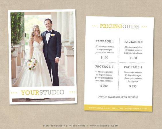 Photography Pricing Guide template - Price List photoshop template - vendor list templates