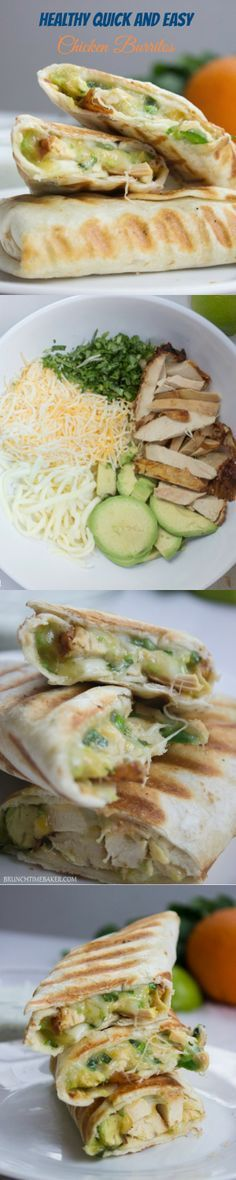Healthy Easy Chicken Burritos, this idea is great, you just mix ingredients and stuff your burritos, it may work for quesadillas too