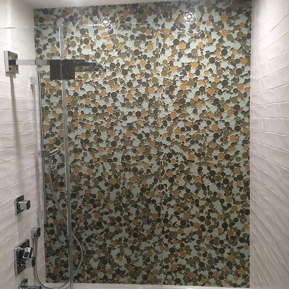 Glazzio Bubble Tile Accent Wall In Toffee Glazzio