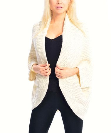 This looks sooo comfy!! This Beige Ribbed Cape-Sleeve Open Cardigan by SUE & KRIS is perfect! #zulilyfinds