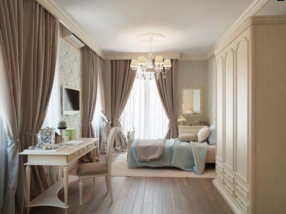Dormitorio individual con cama invitados y zona estudio - blanco y celeste