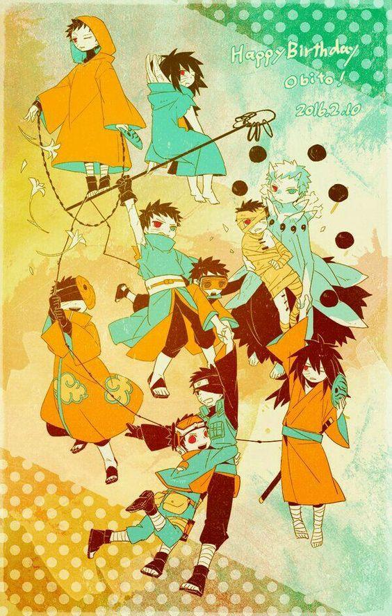 Happy Birthday Obito, text, cute, Uchiha Obito, chibi, Akatsuki, young, childhood, different ages, time lapse, Shinobi, Tobi, Sharingan, Rinnegan, Madara, Sage of Six Paths Mode; Naruto